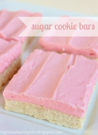 Sugar cookie bars labeled
